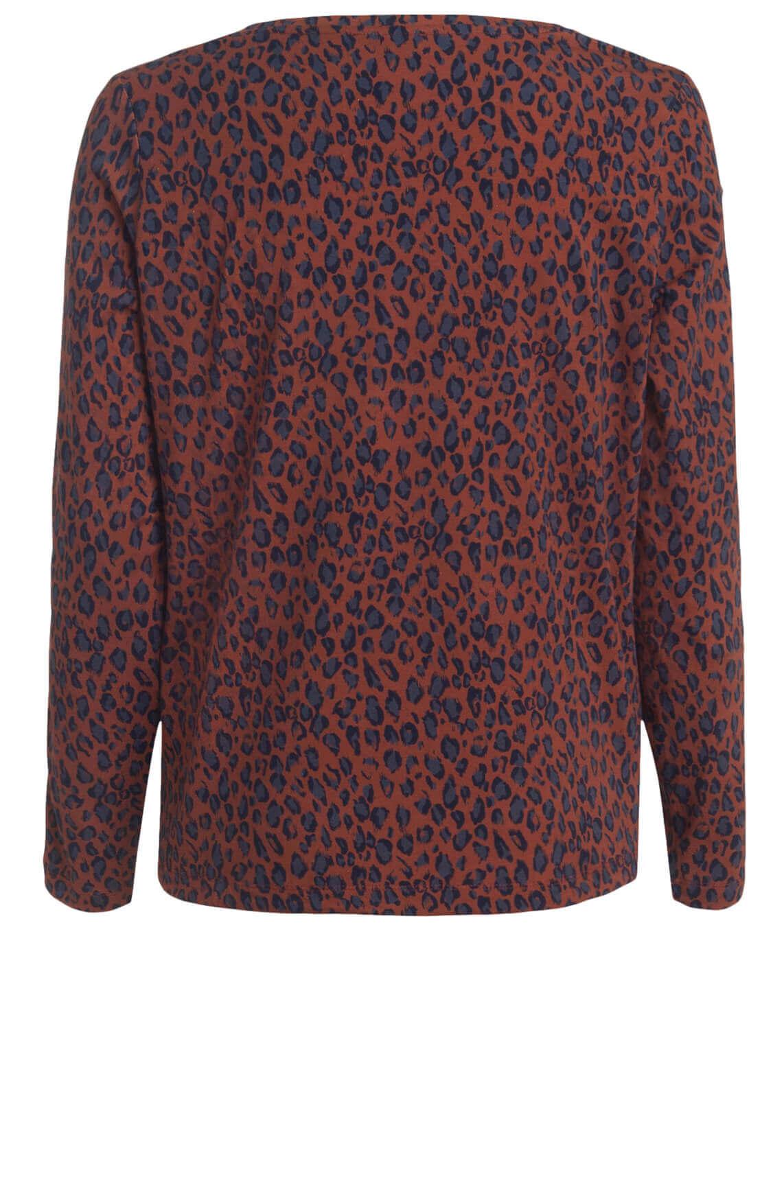 Anna Blue Dames Shirt met panterprint Rood