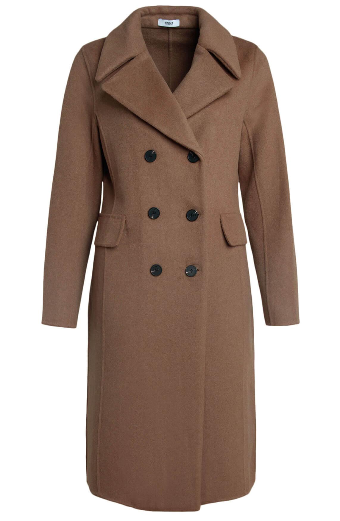 Anna Dames Wollen mantel Bruin