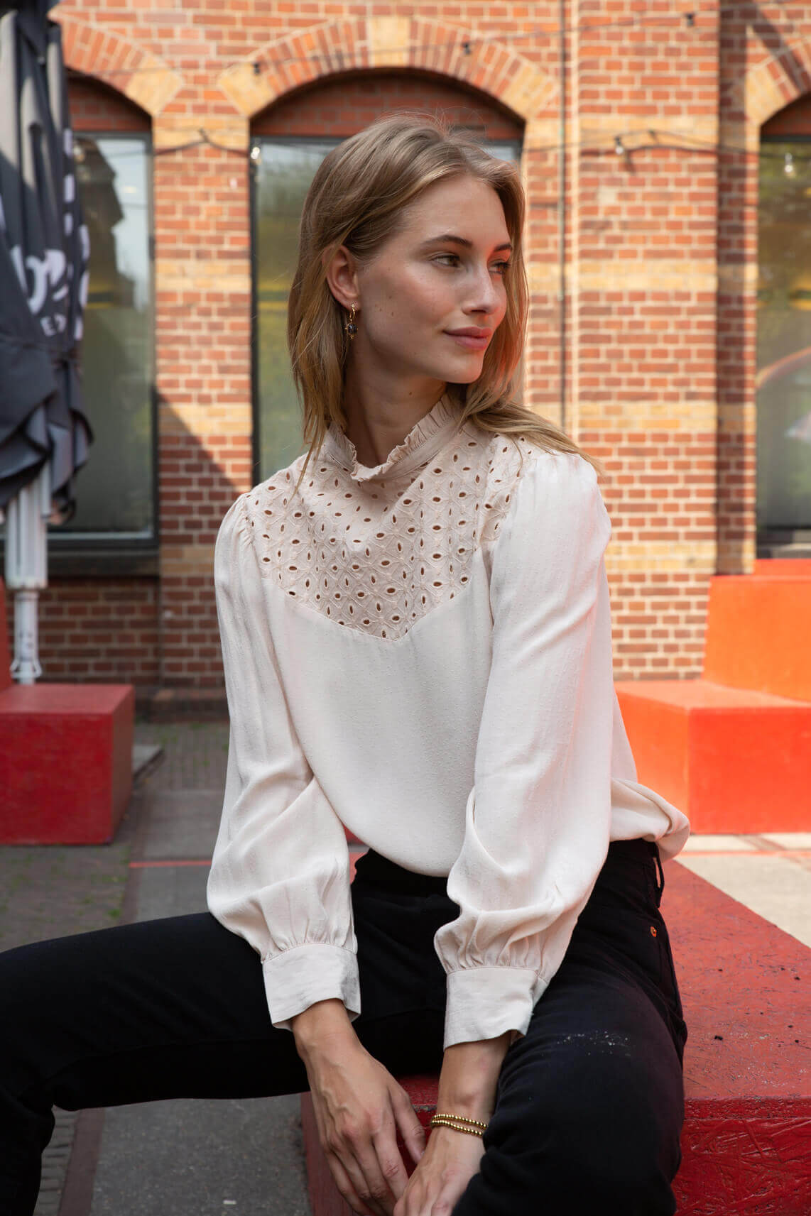 Anna Dames Blouse met broderie roze