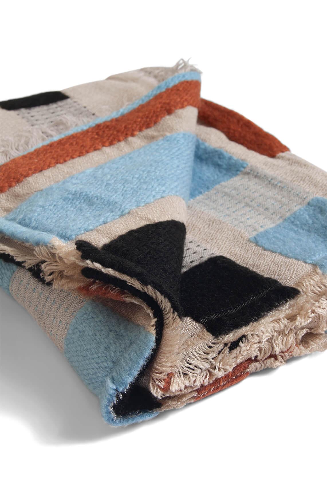Anna Blue Dames Geblokte shawl Blauw