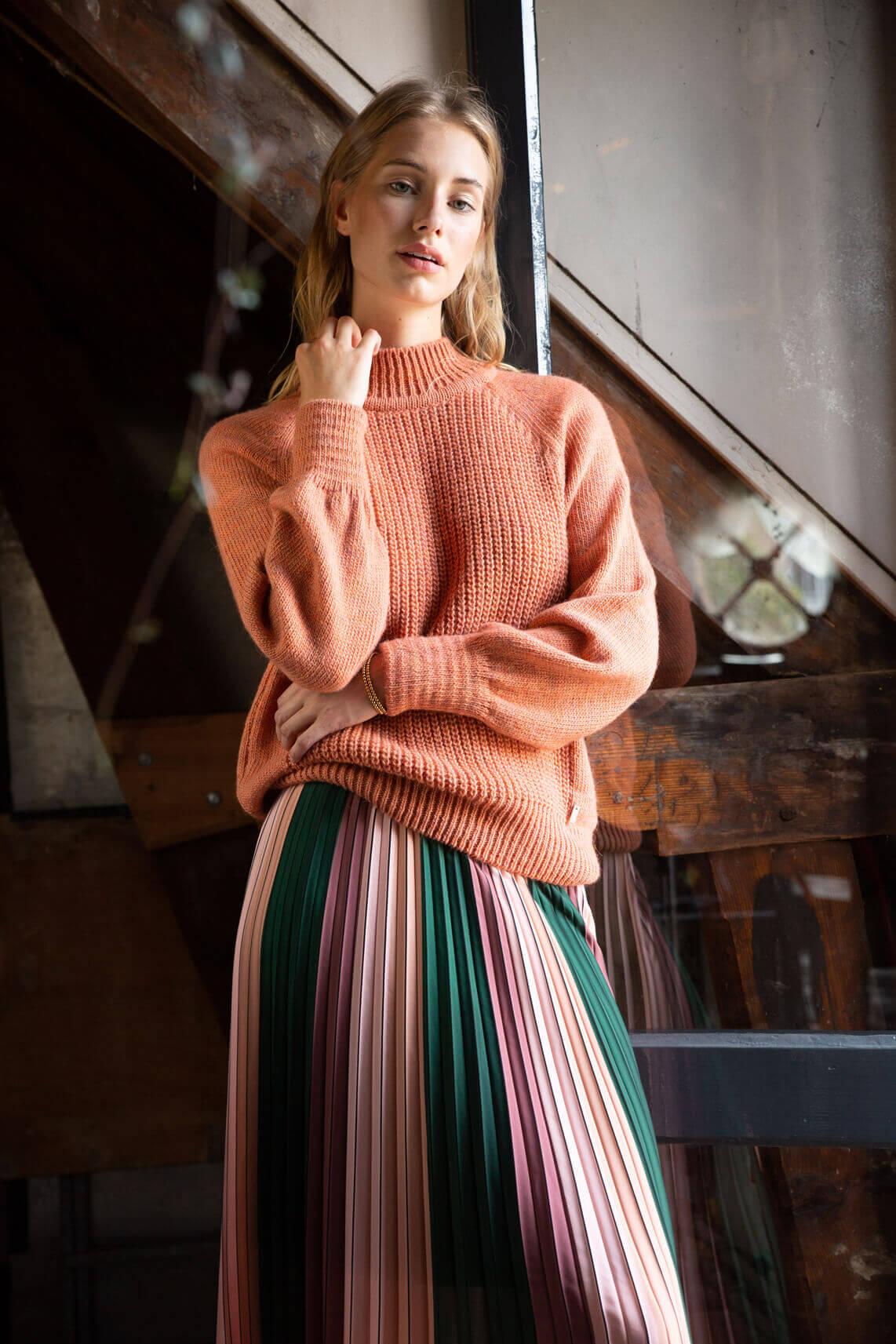 Anna Dames Pullover met hoge kraag roze