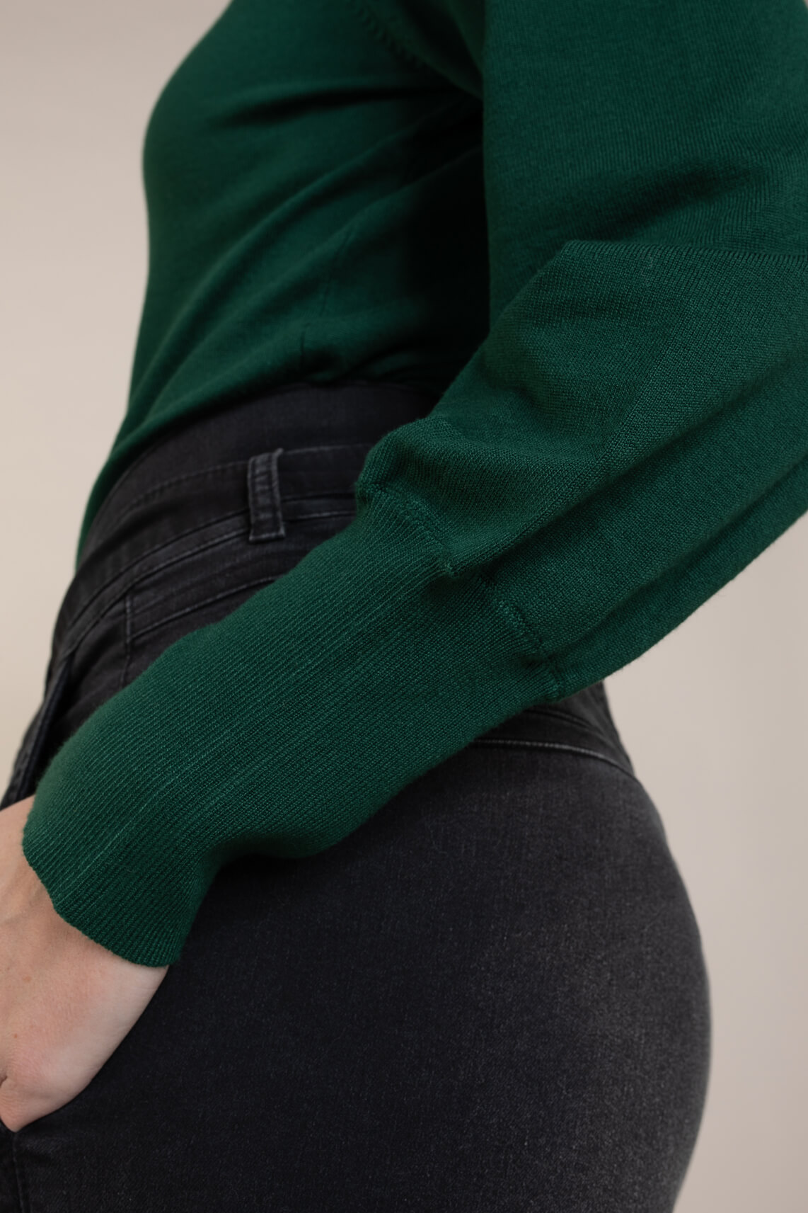Anna Dames Pullover met pofmouw groen