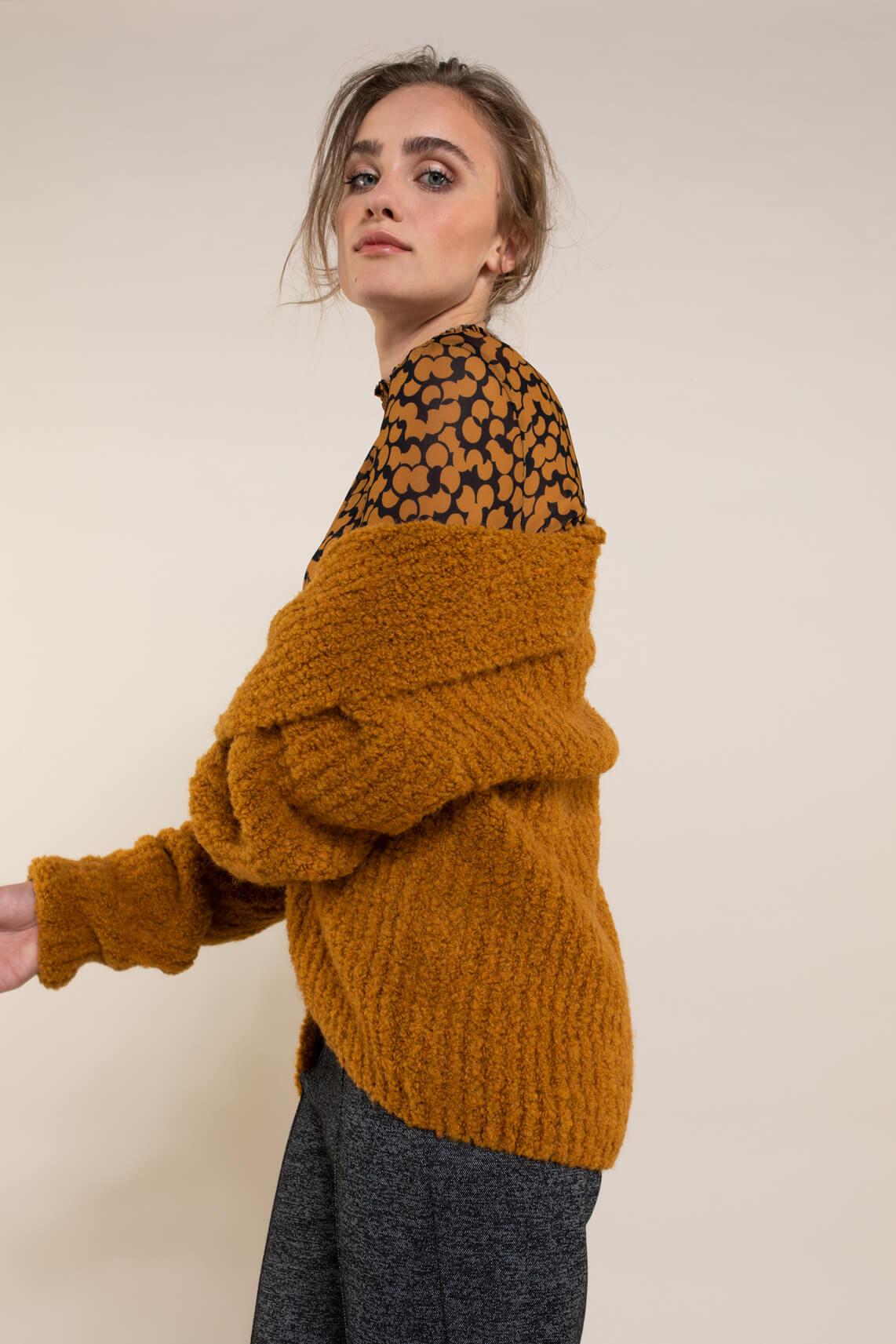 Anna Dames Blouse met smokwerk geel