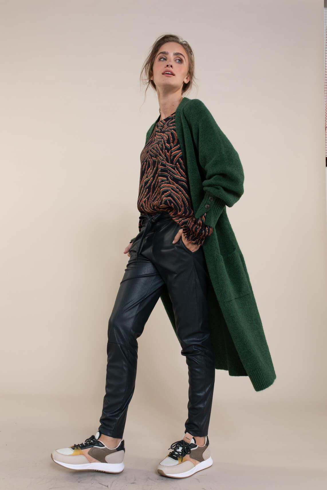 Anna Dames Fake leather broek groen