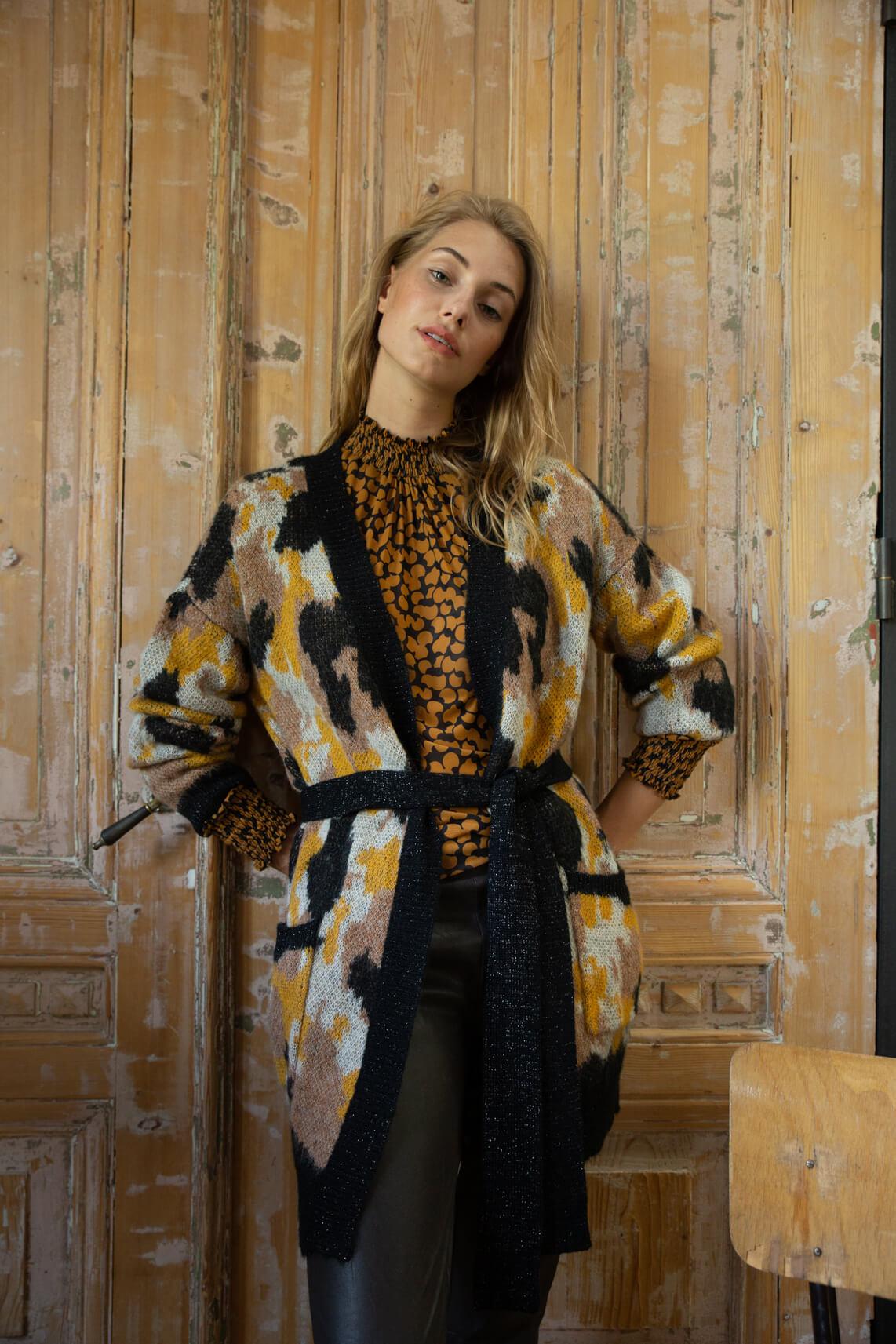 Anna Dames Vest met dessin geel