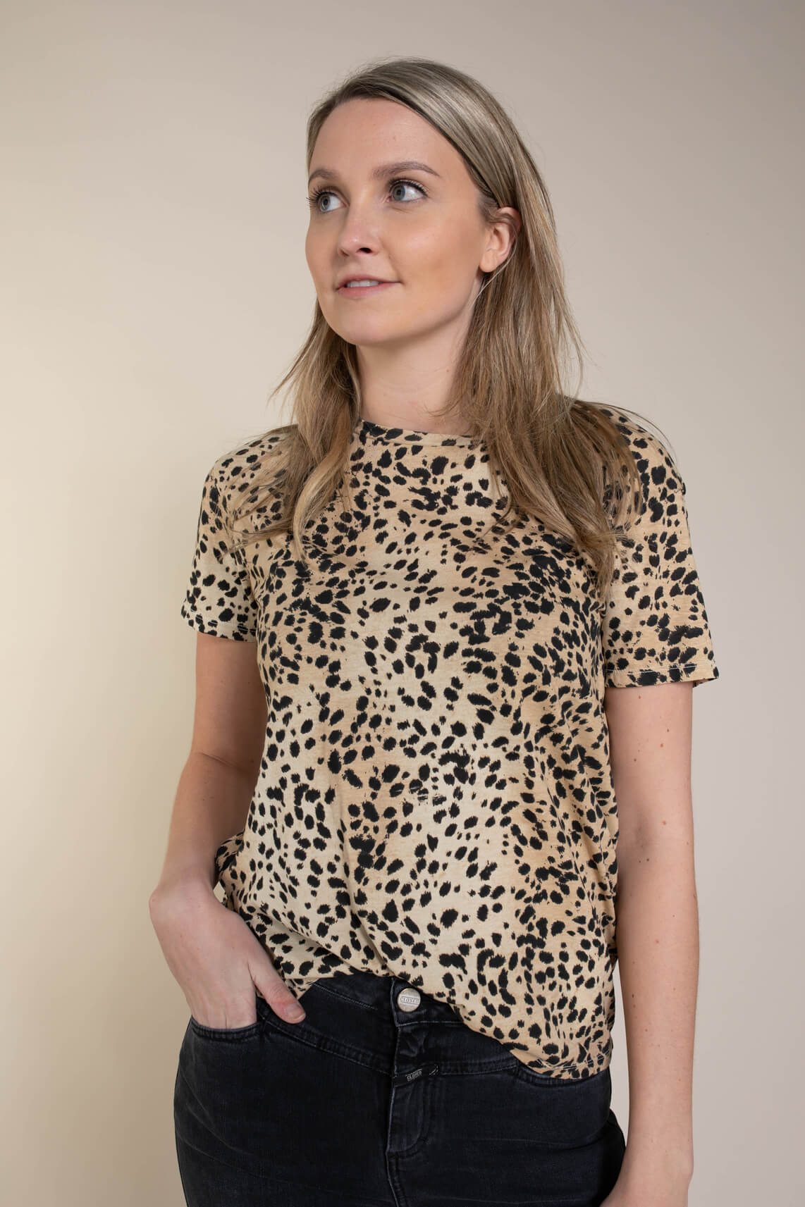 Set Dames Animalprint shirt Bruin