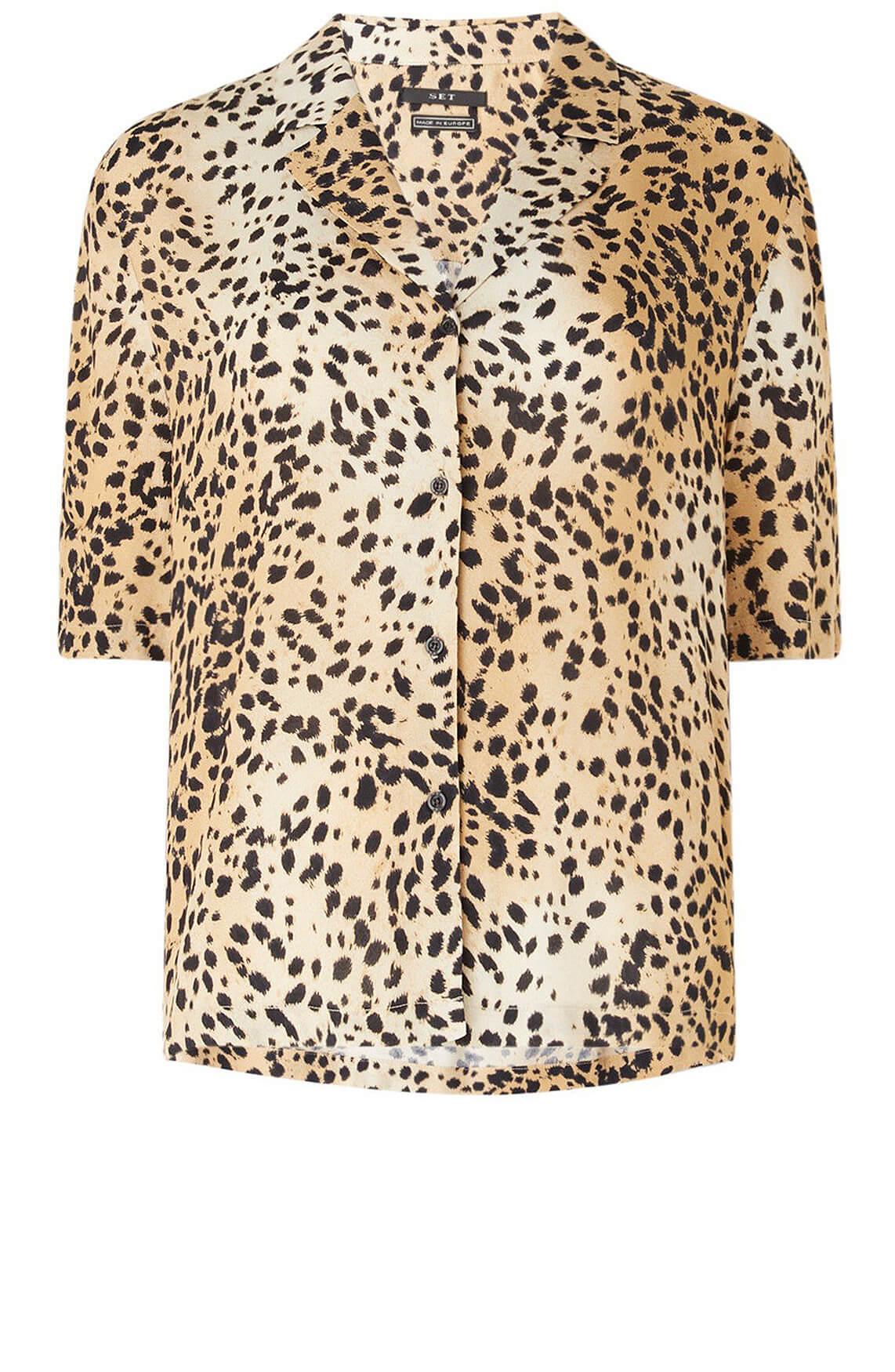 Set Dames Leopard blouse Bruin