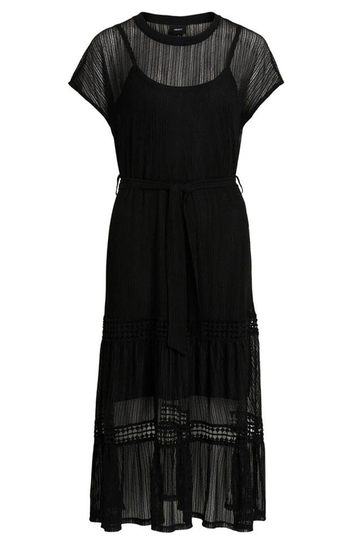 Object Dames Tutsie mesh jurk zwart