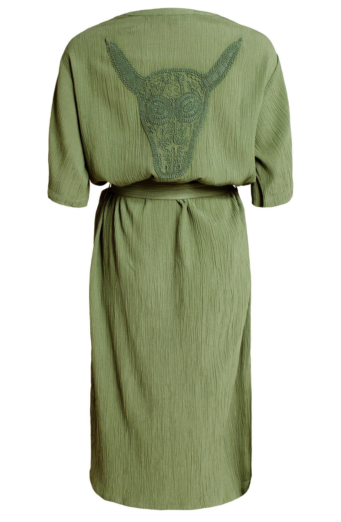 Alix The Label Dames Crinkle jurk groen