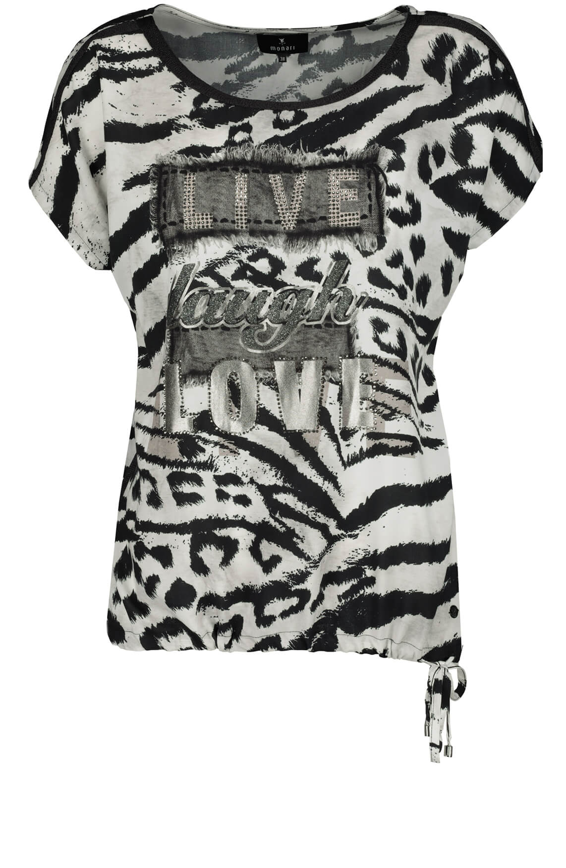 Monari Dames Animalprint shirt zwart