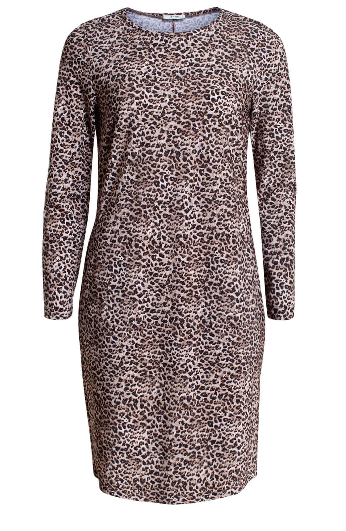 Anna Dames Jersey sensitive jurk Bruin
