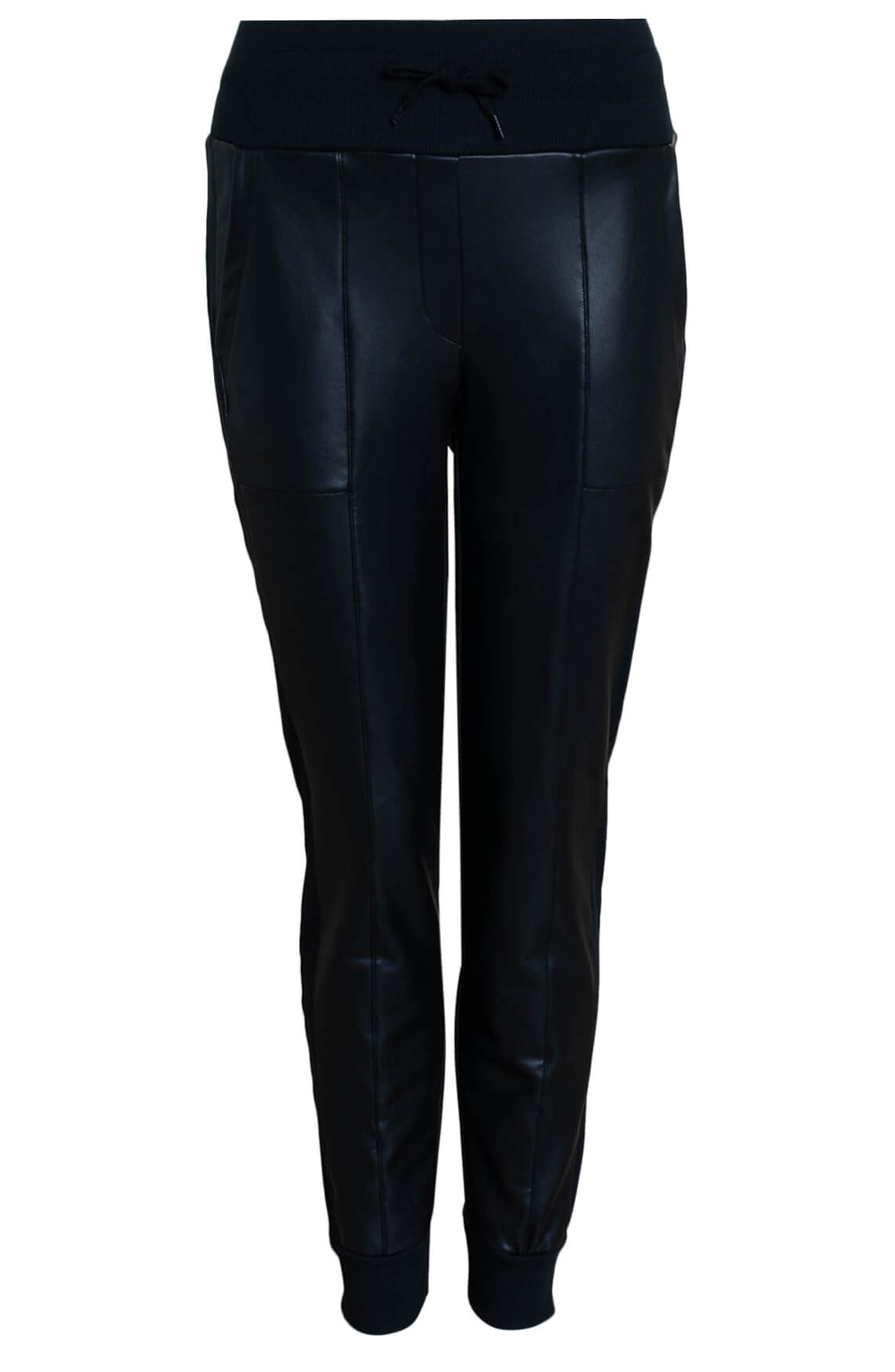 Anna Blue Dames Fake leather jogger zwart