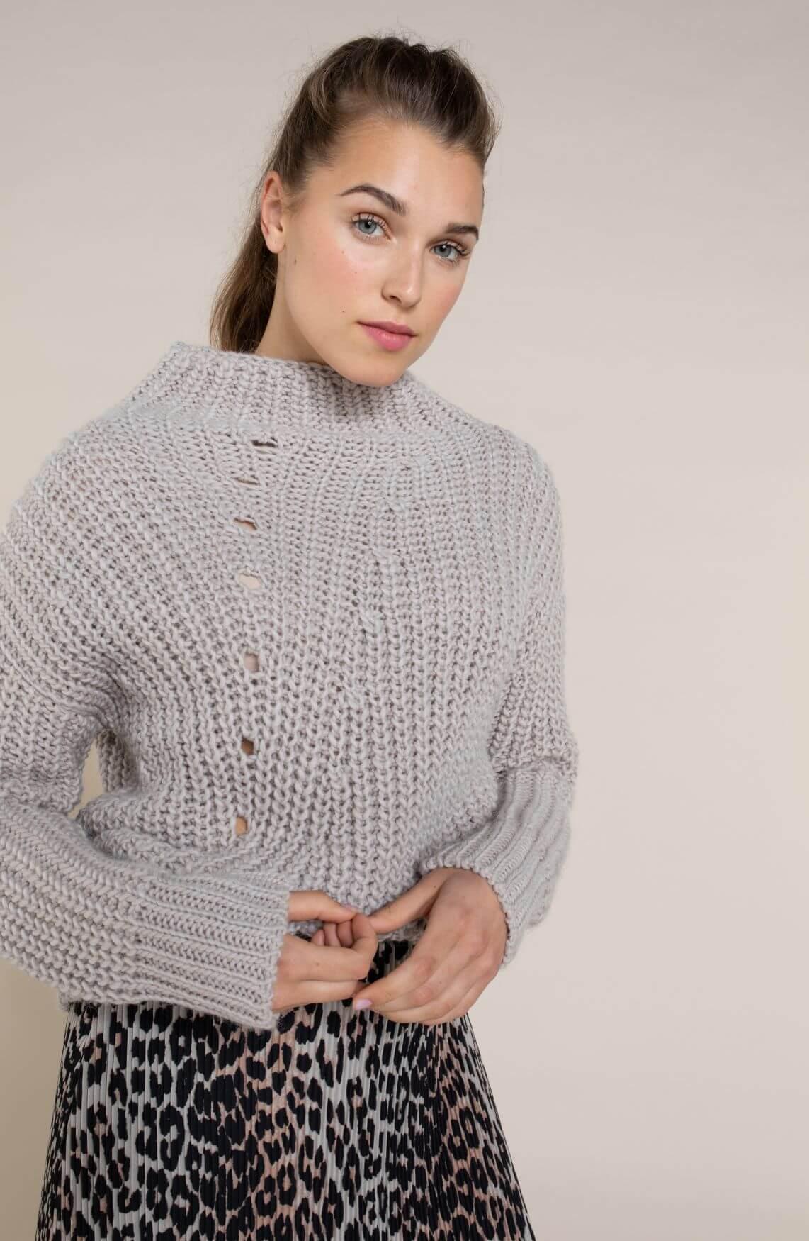Anna Dames Pullover met boothals Bruin