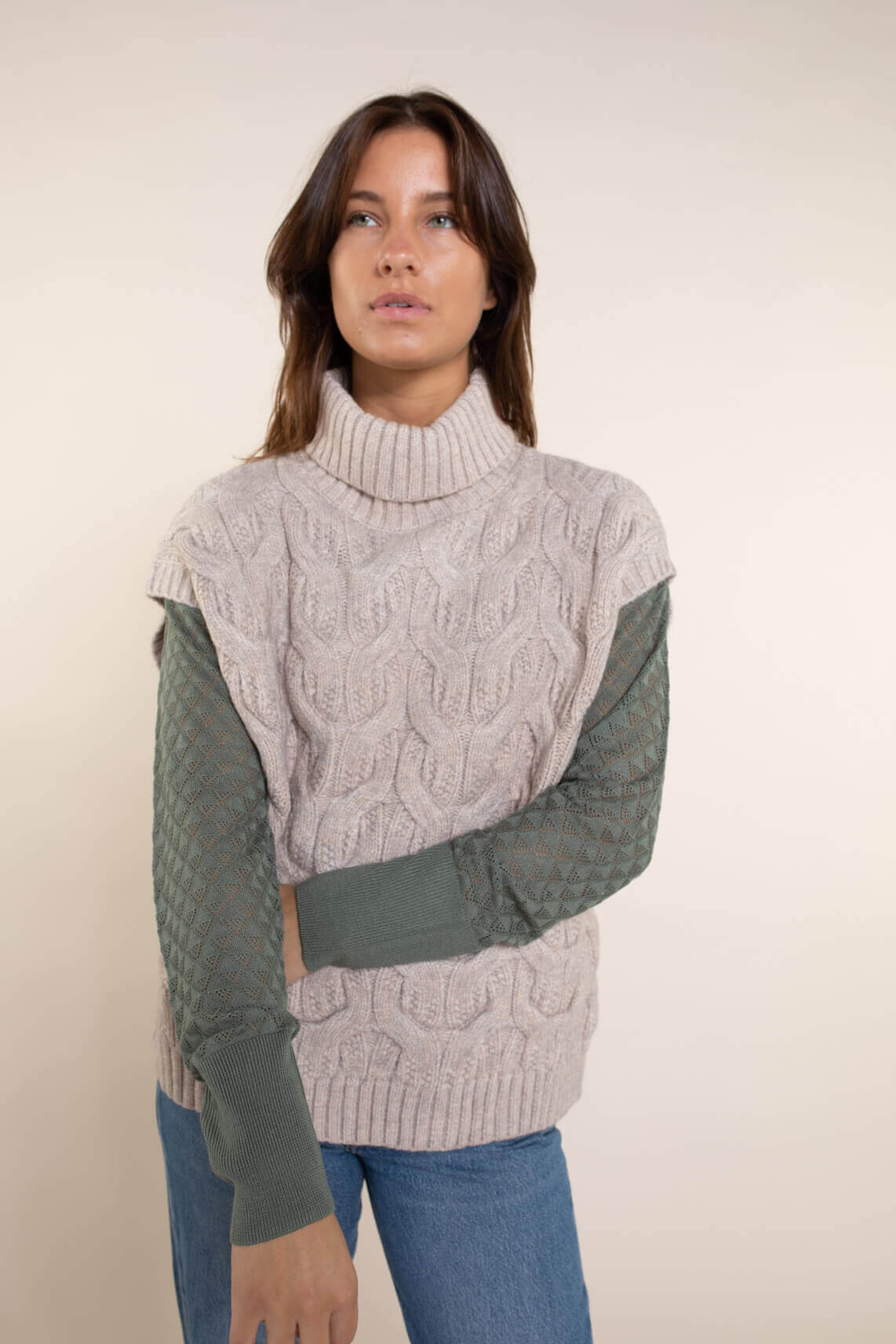 Co Couture Dames Jenesse kabel spencer Bruin