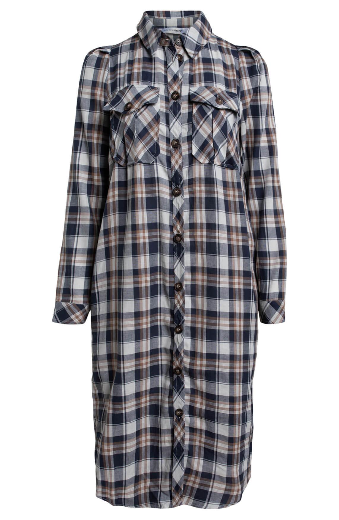 Co Couture Dames Geruite jurk met pofmouw Bruin