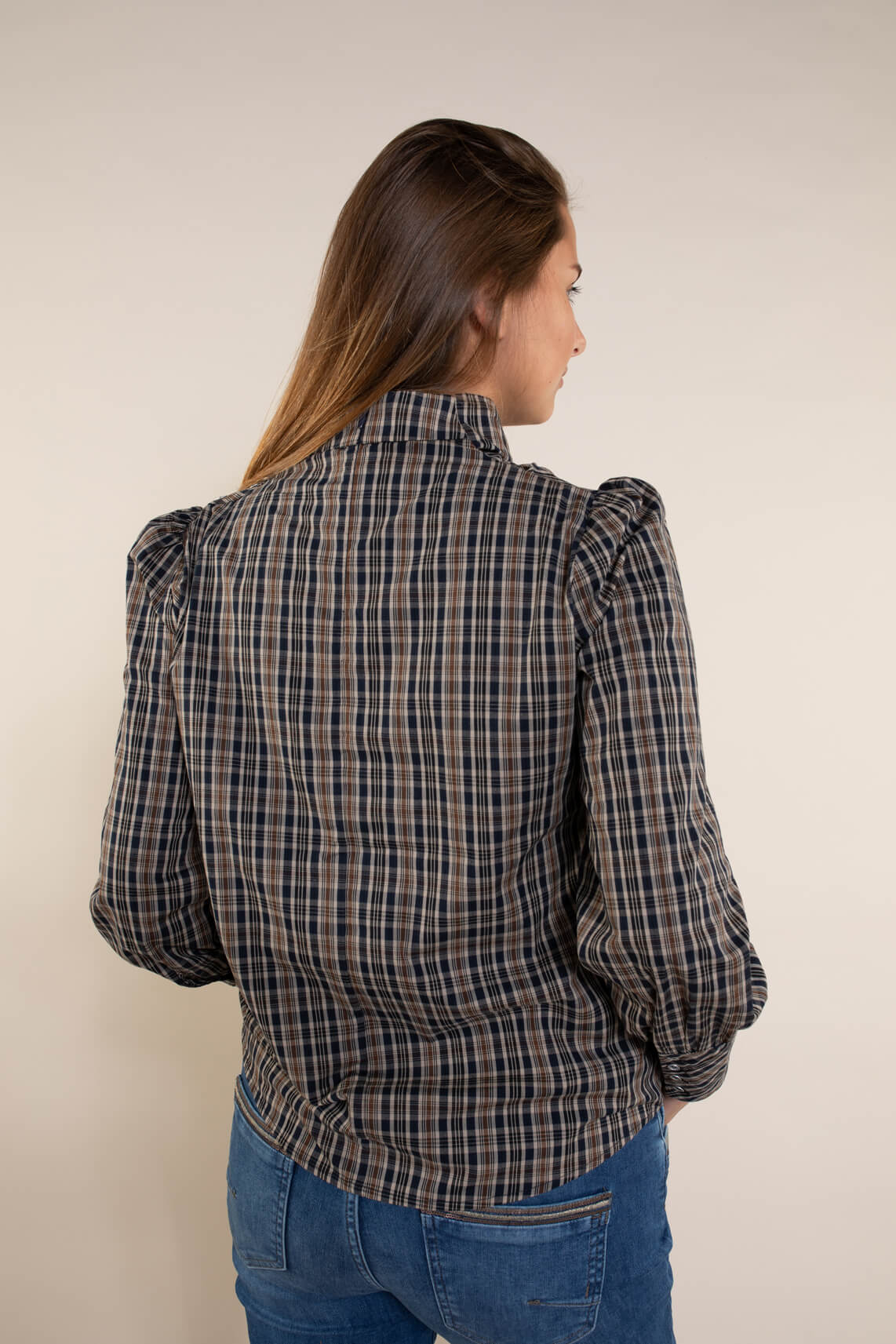 Co Couture Dames Scot geruite blouse Bruin