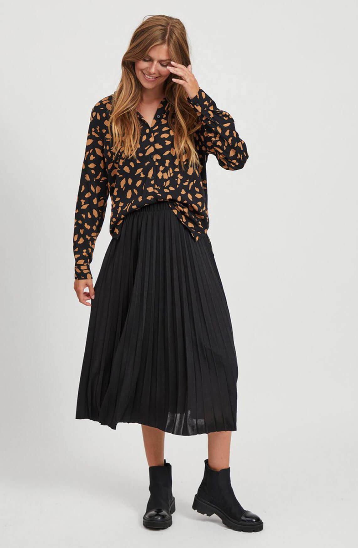 Object Dames Dines plissé rok zwart