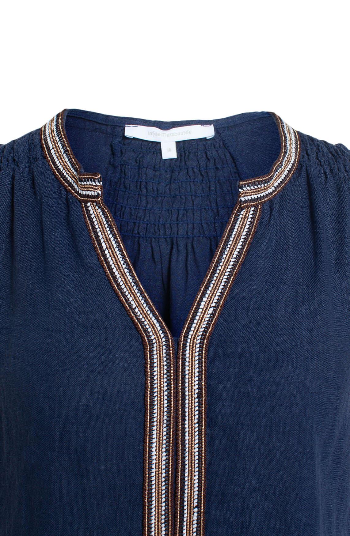 La Fée Maraboutée Dames Linnen blouse Blauw