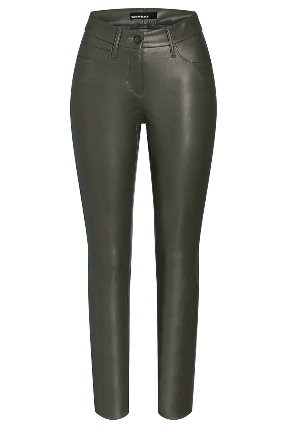 Cambio Dames Ray fake leather broek groen