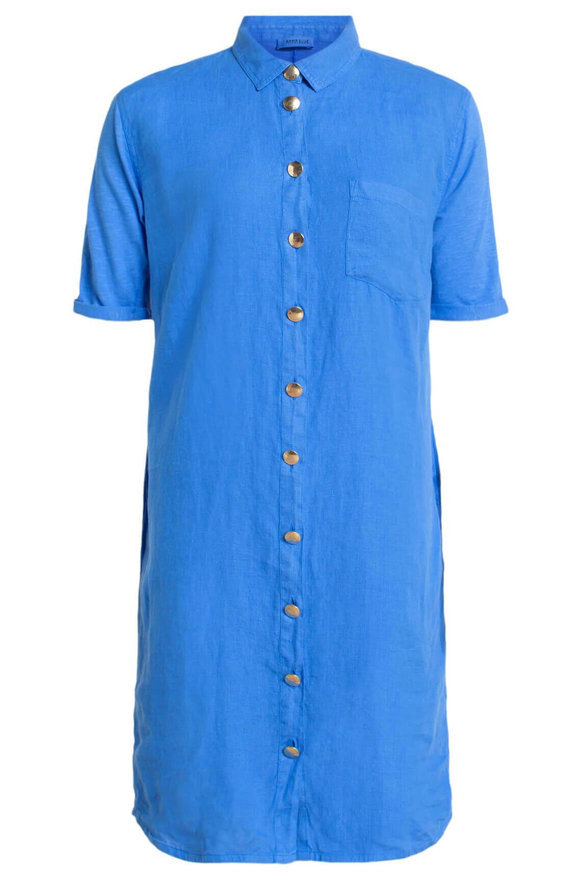 Anna Blue Dames Linnen jurk met knopen Blauw