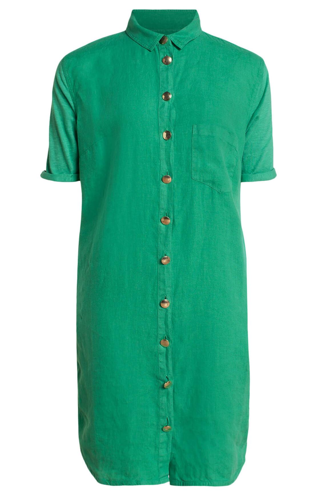 Anna Blue Dames Linnen jurk met knopen groen