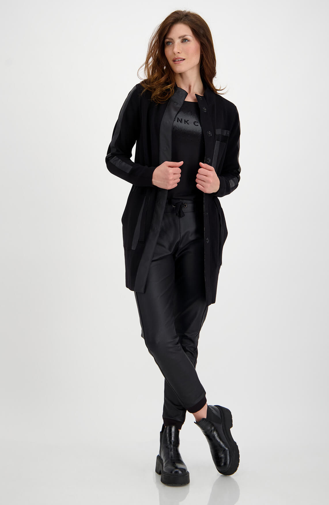 Monari Dames Print vest zwart