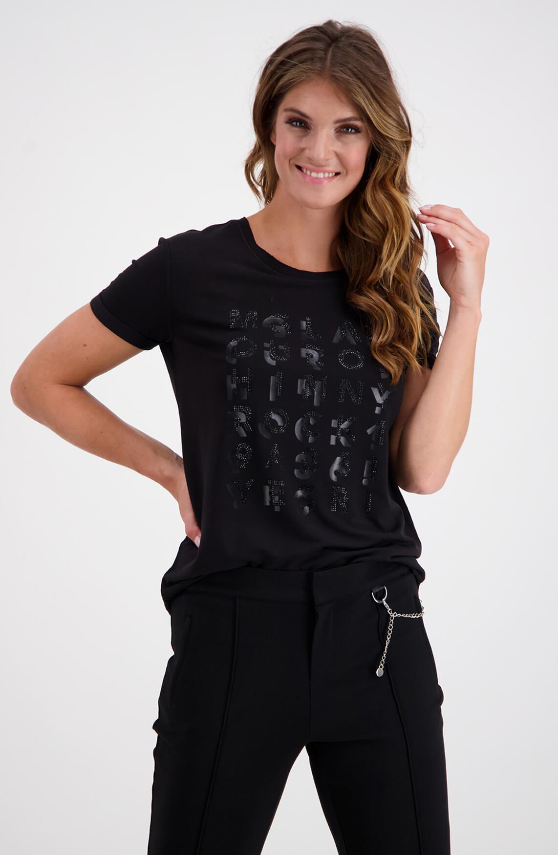 Monari Dames Tekstprint cargo shirt zwart