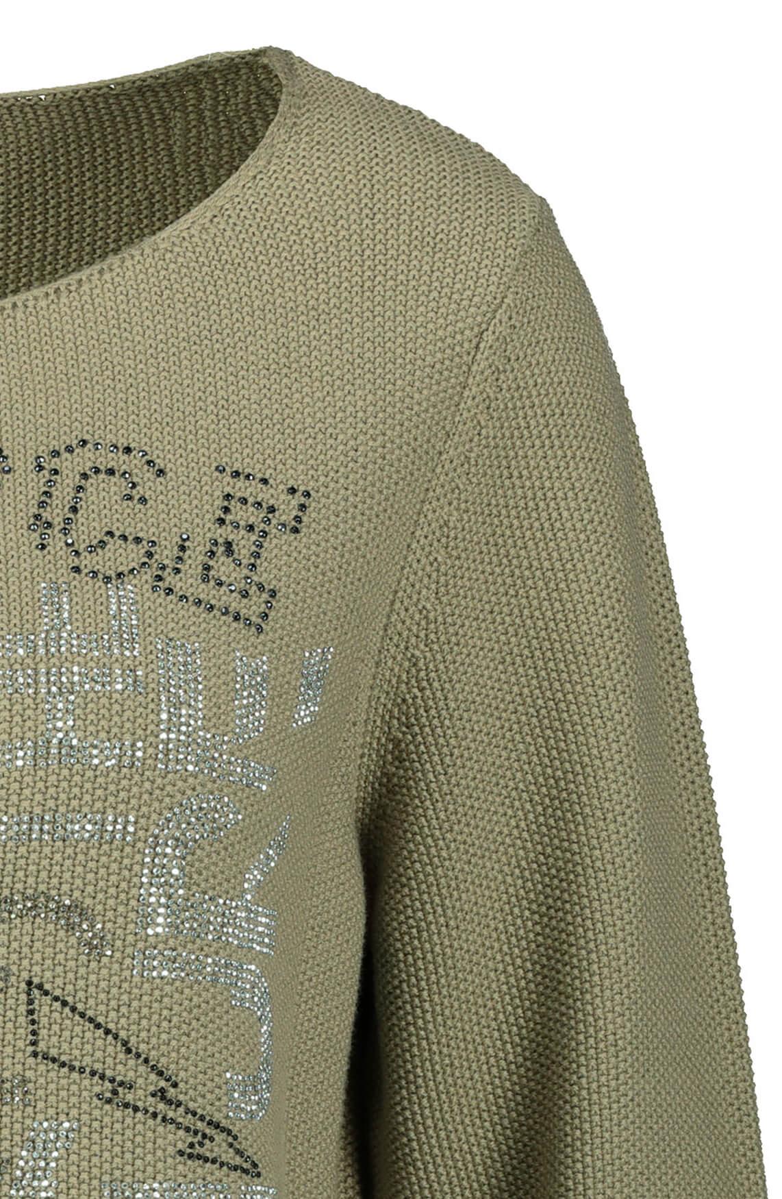 Monari Dames Tekstprint pullover met strass groen
