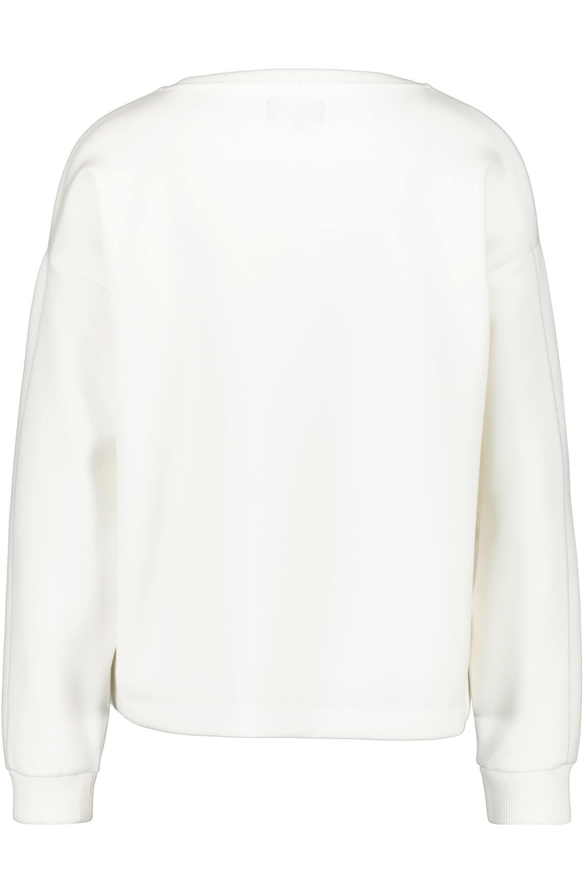 Monari Dames Tekstprint pullover wit