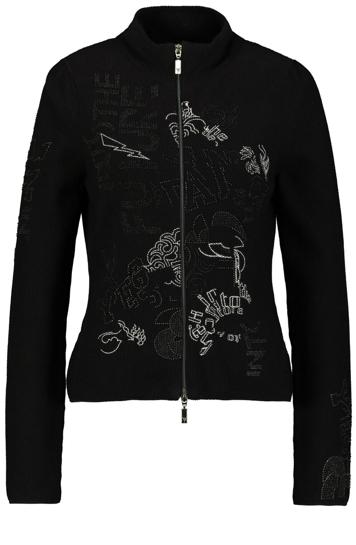 Monari Dames Vest met artwork zwart