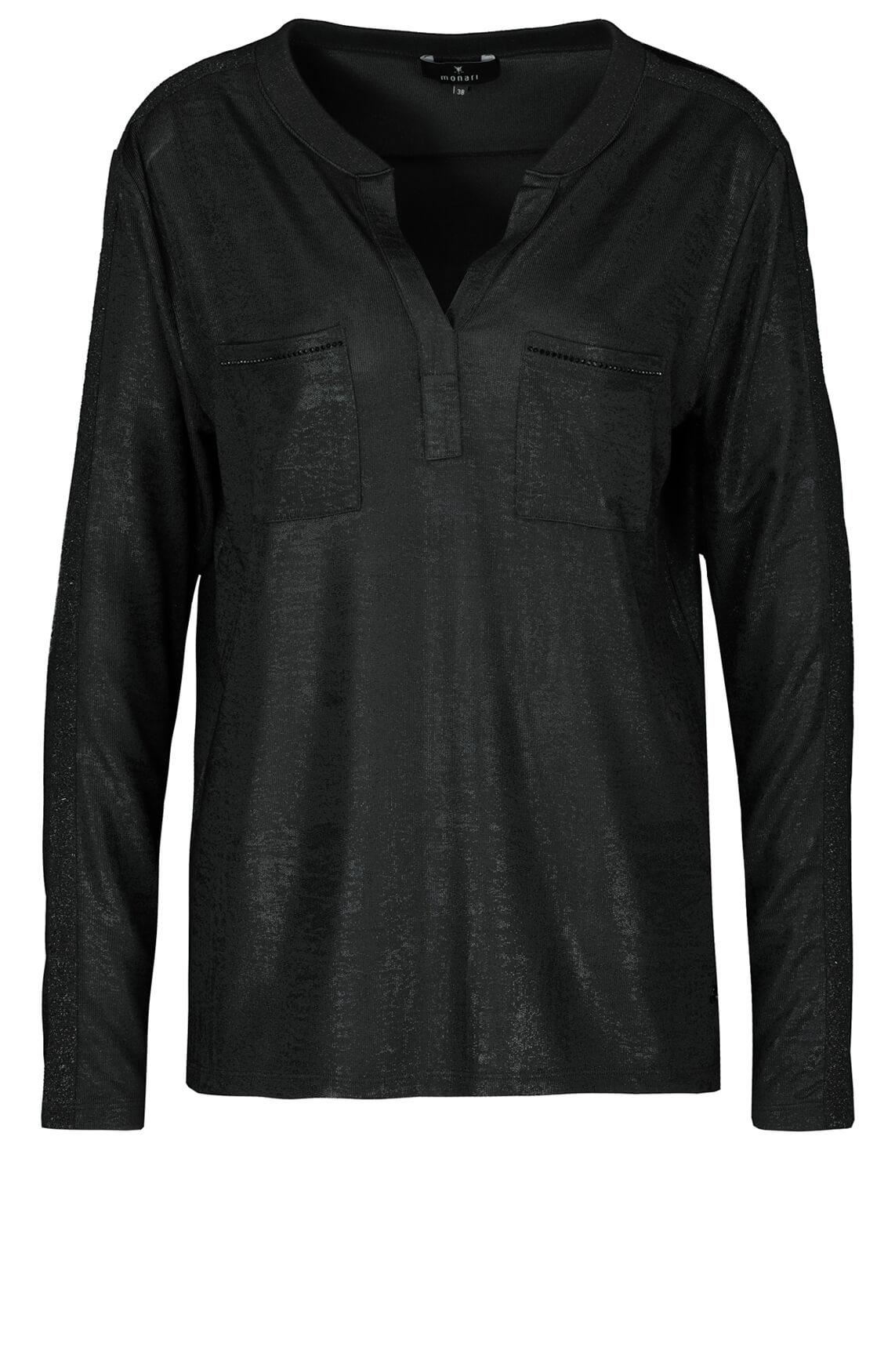 Monari Dames Shirt met gecoate look zwart