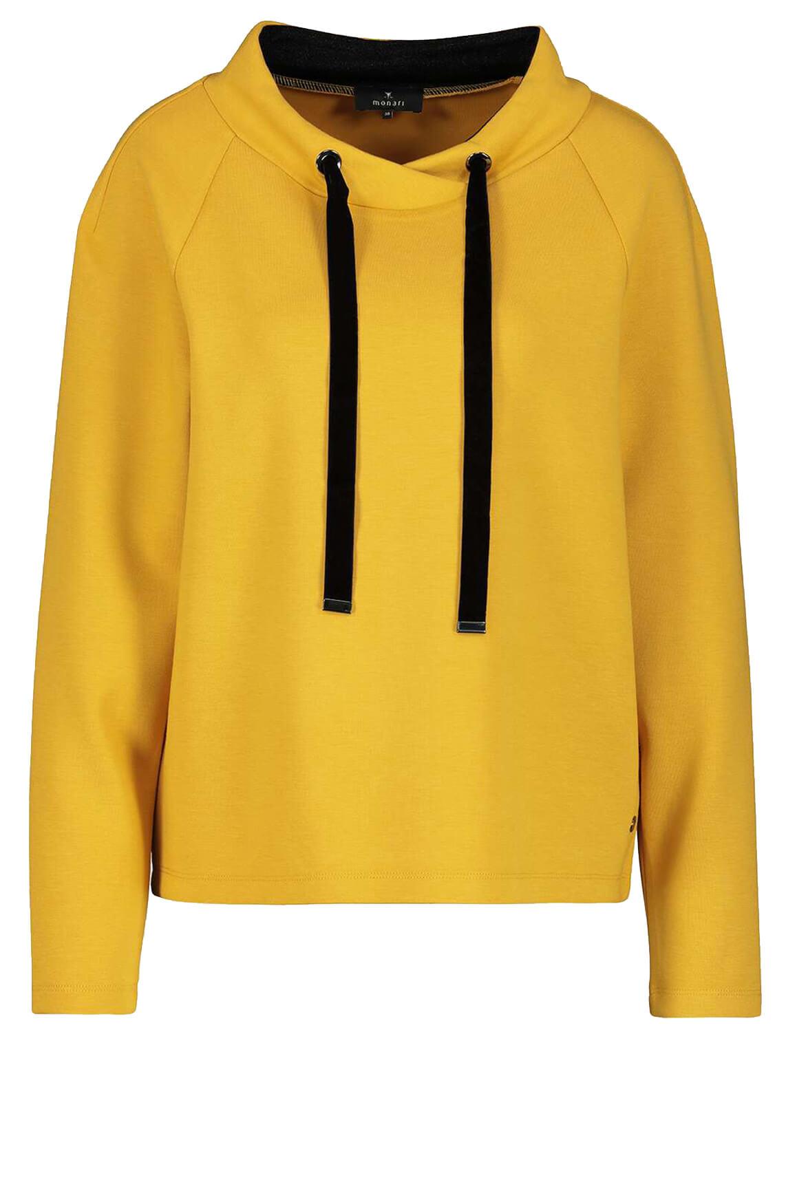 Monari Dames Sweater met velvet geel