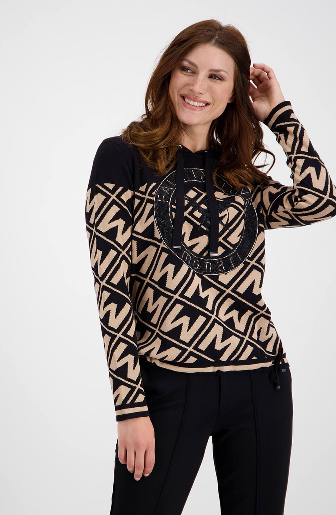 Monari Dames Sweater met strass zwart