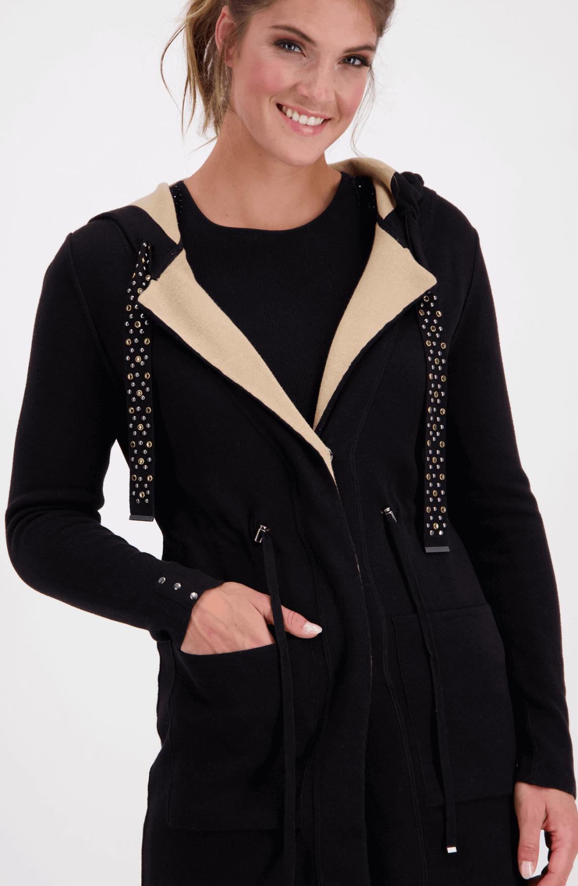 Monari Dames Vest met studs zwart