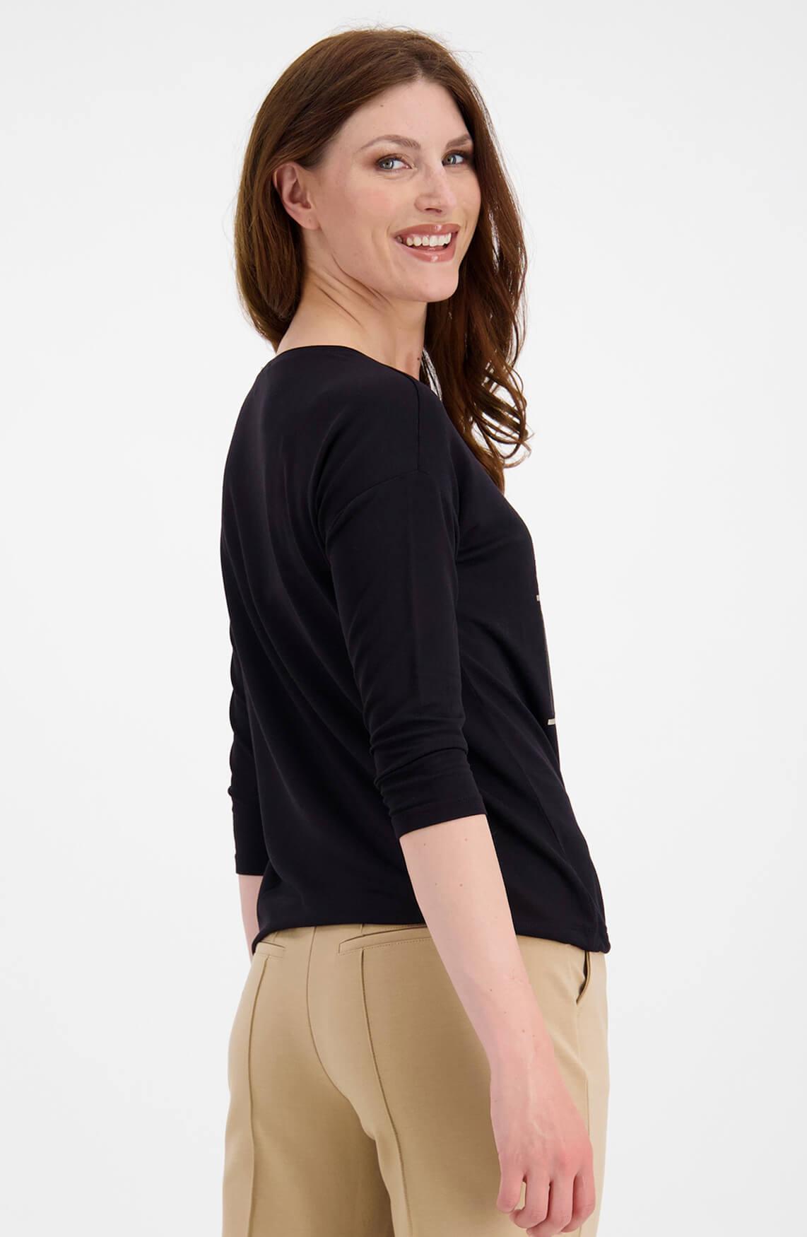Monari Dames Shirt met 3D opdruk zwart