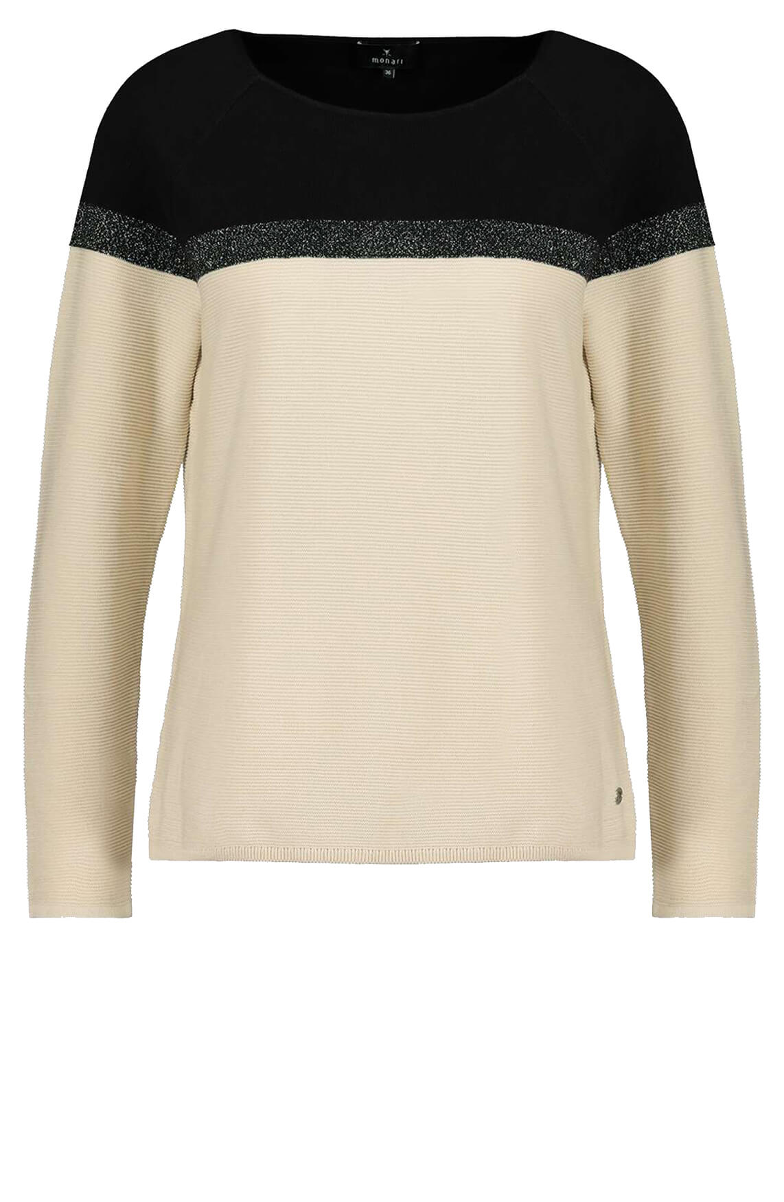 Monari Dames Colorblock pullover Ecru