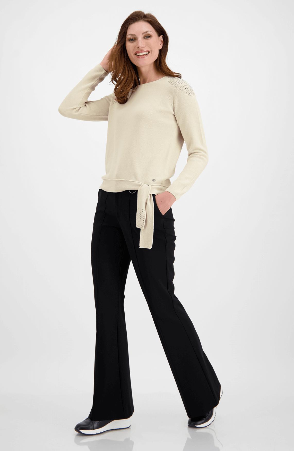 Monari Dames Pullover met strass Ecru