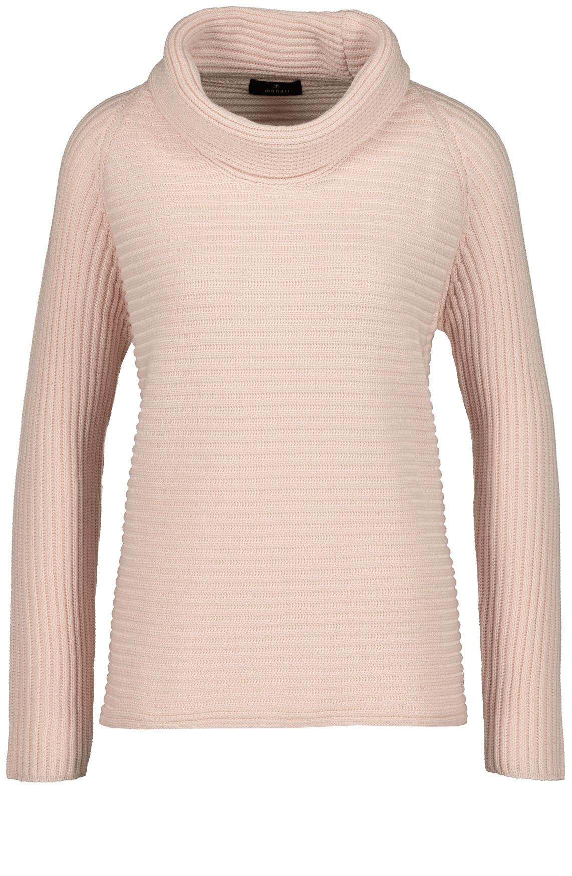 Monari Dames Pullover met opstaande kraag roze