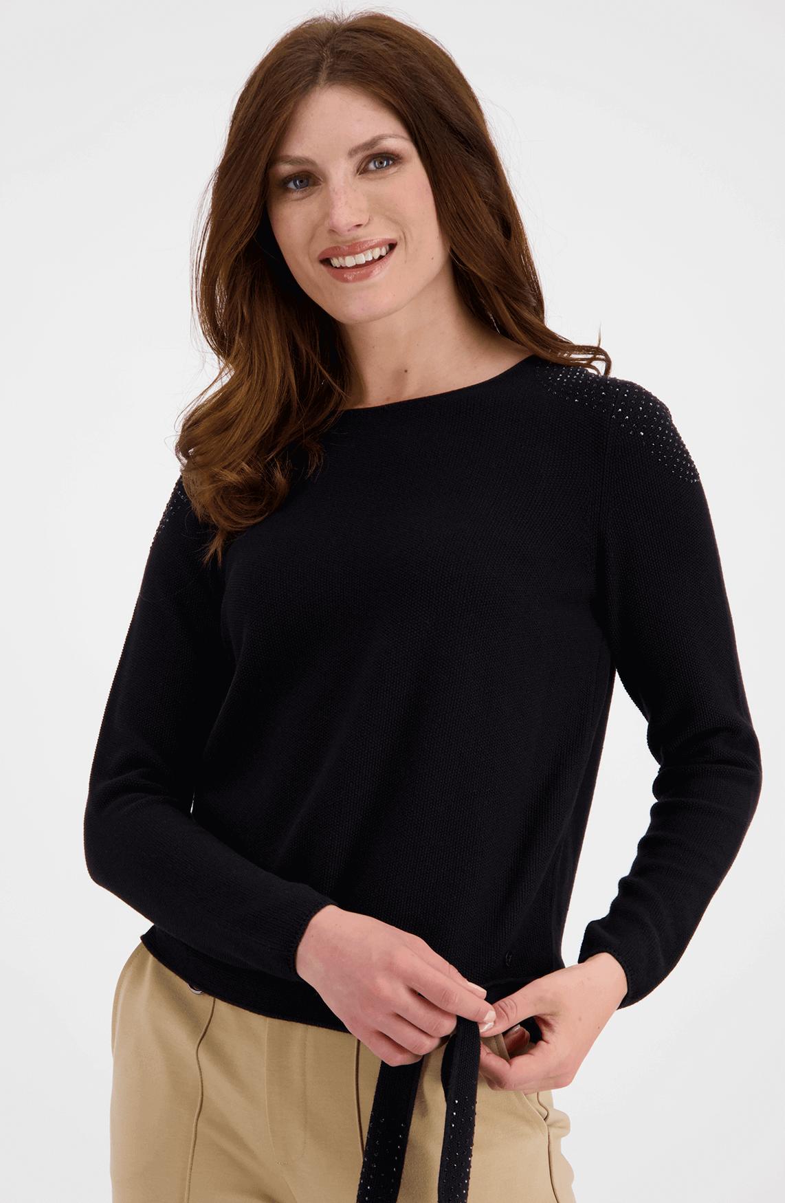 Monari Dames Pullover met strass zwart