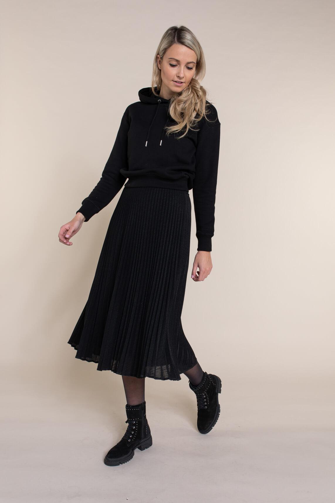 Anna Dames Lurex plissé rok zwart