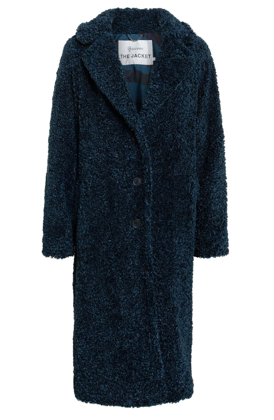 Giacomo Dames Lange teddy mantel Blauw