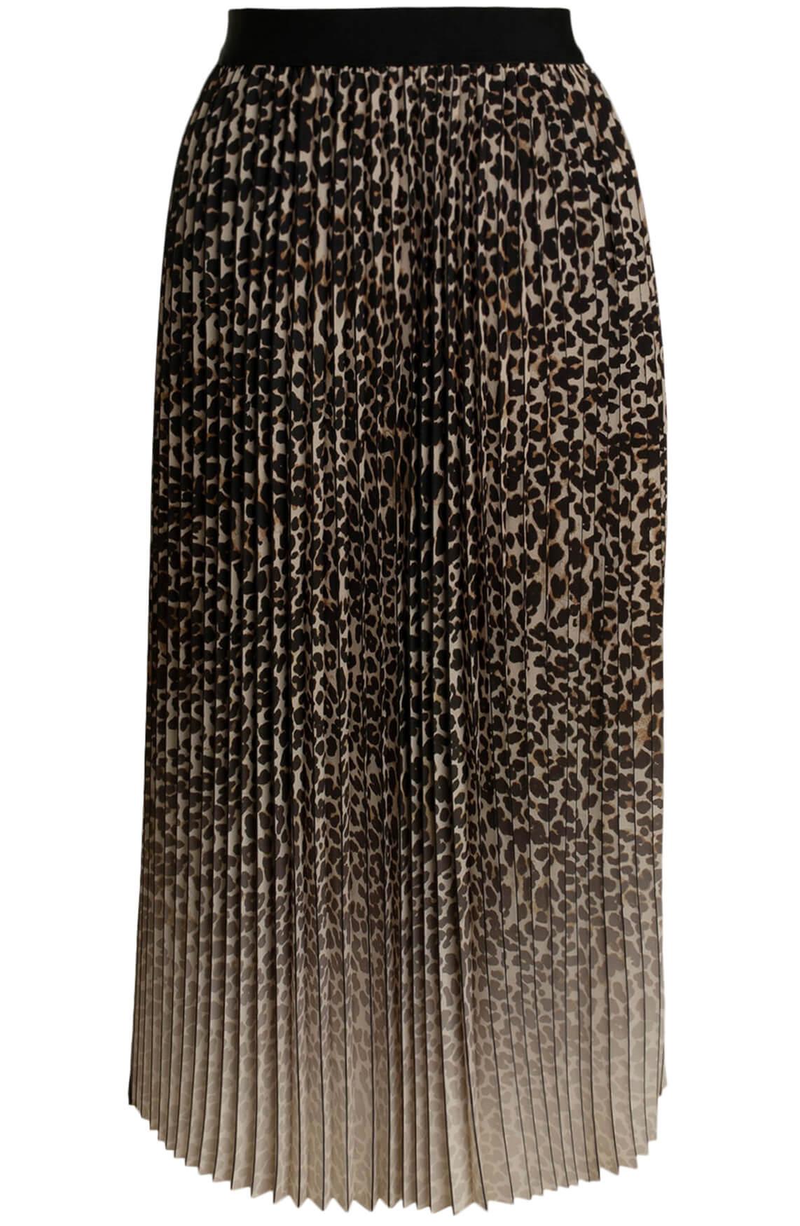 Anna Dames Panterprint plissé rok Bruin
