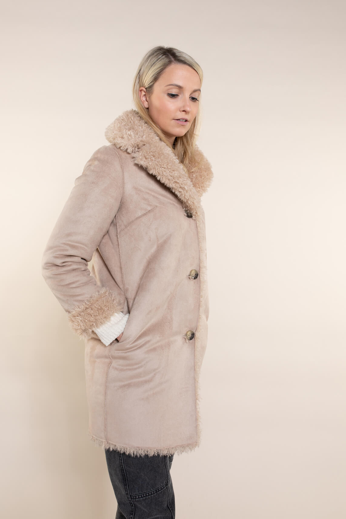 Beaumont Dames Reversible teddycoat Bruin
