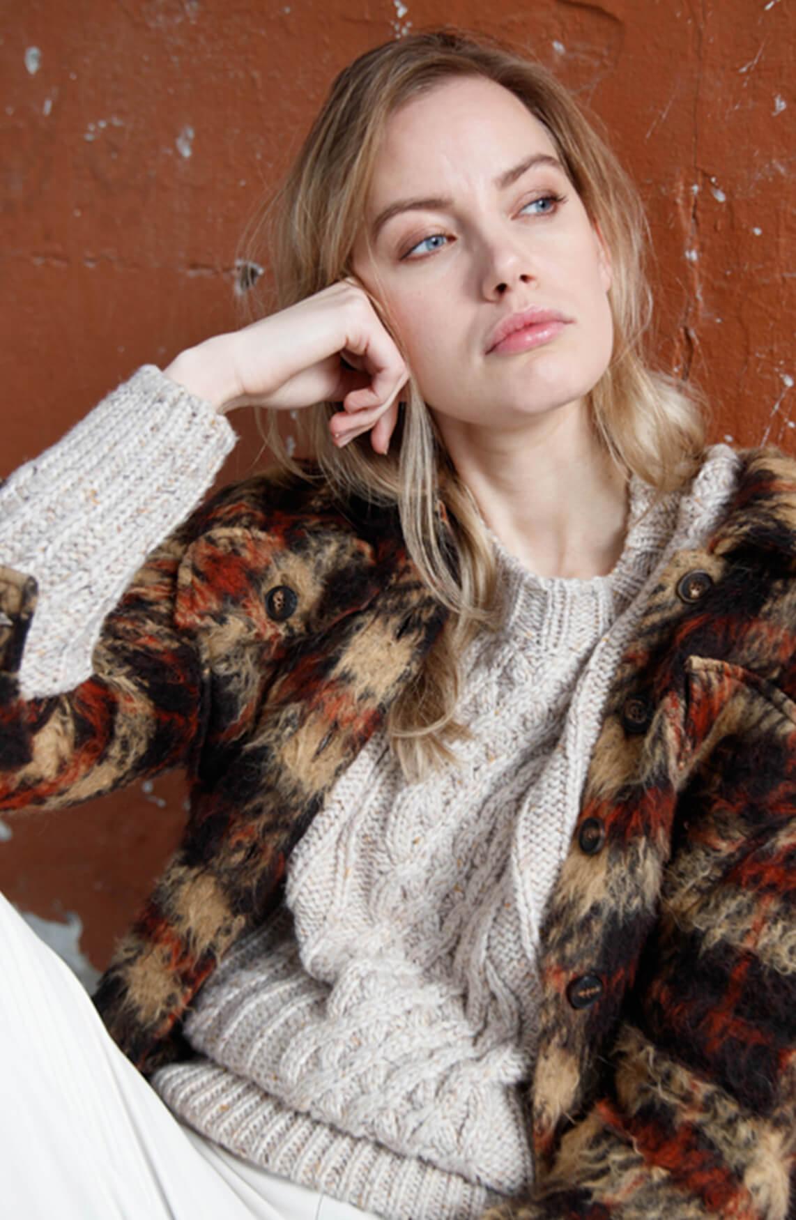 Moscow Dames Livanna gebreide pullover Ecru