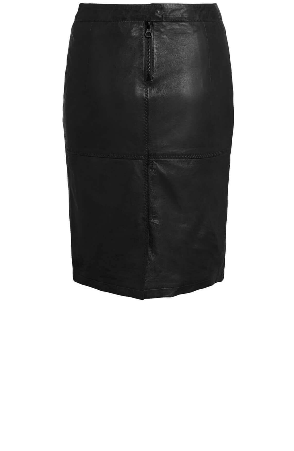 Gipsy Dames Swante leren rok zwart