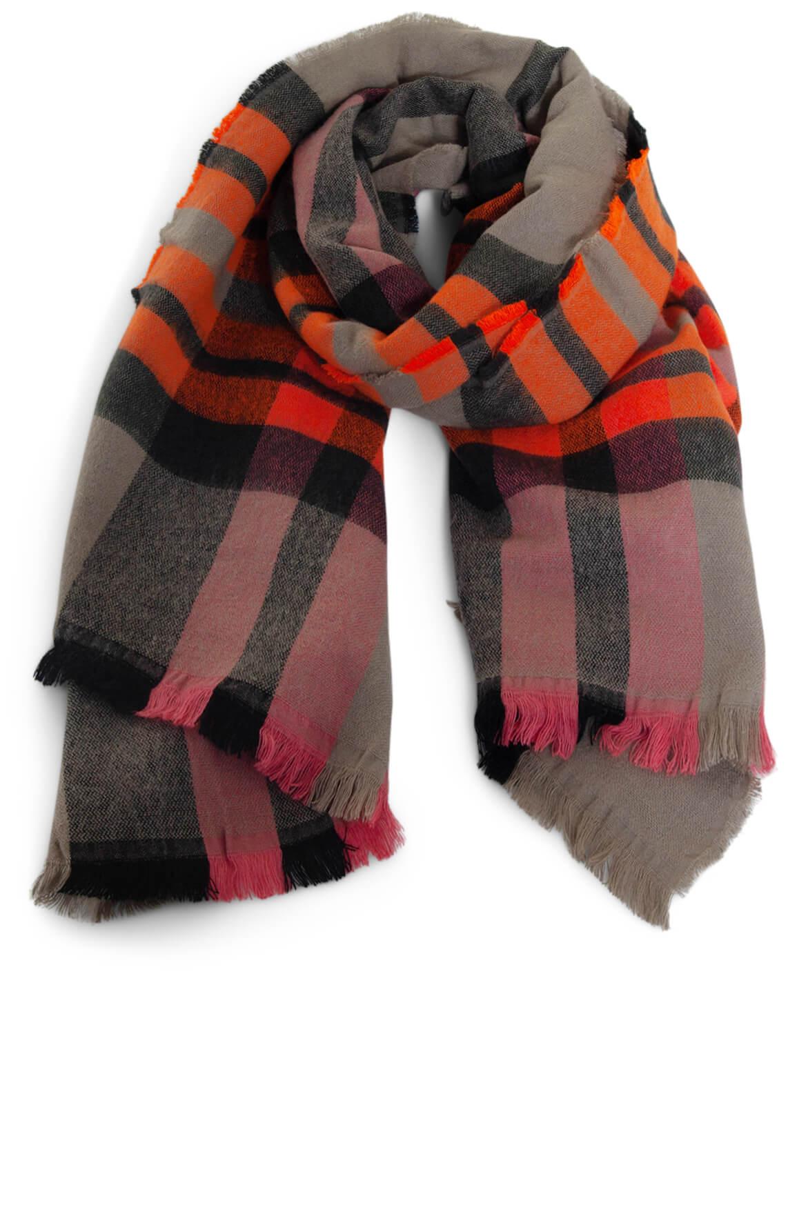 Anna Dames Geblokte shawl Oranje