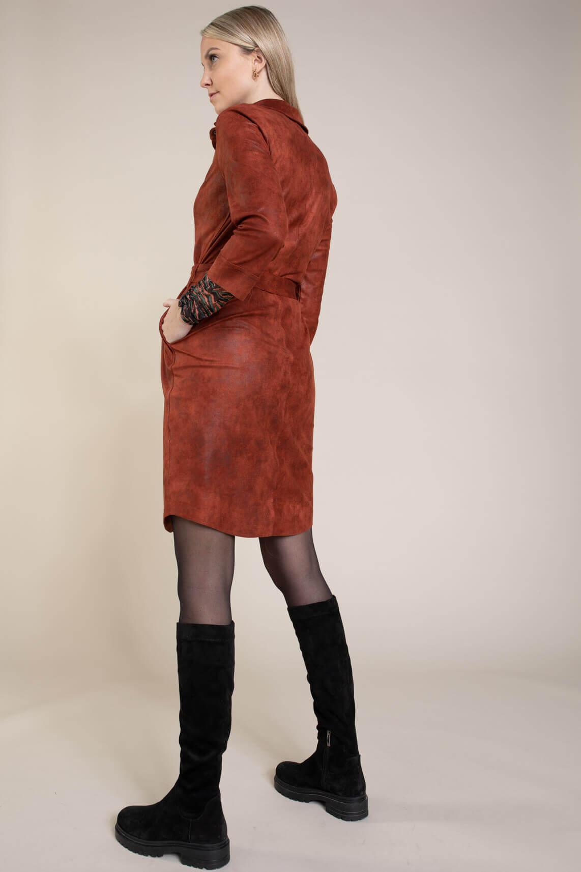 Anna Dames Imitatie leren jurk Rood