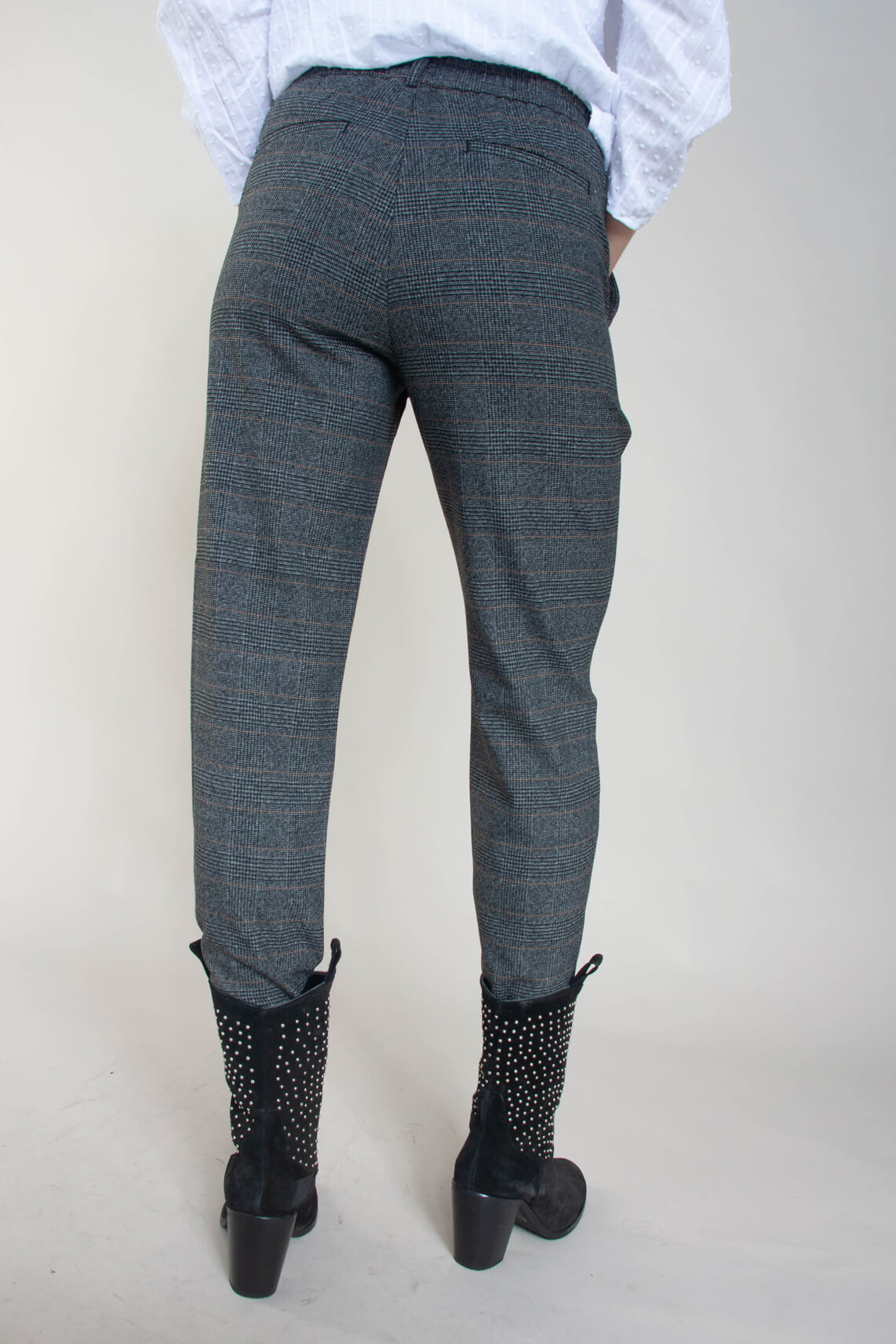 Object Dames Lisa geruite pantalon zwart