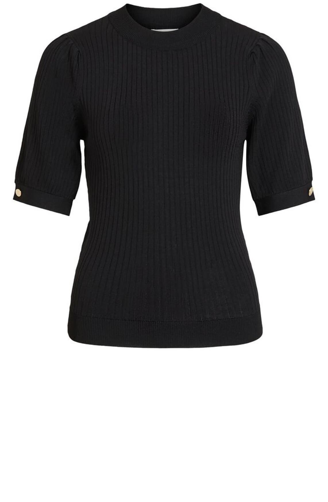 Object Dames Ribgebreide trui zwart