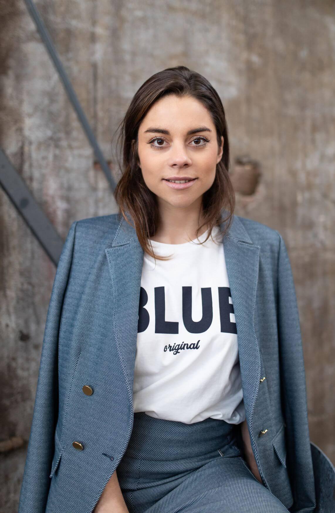 Anna Dames Gestreepte blazer Blauw
